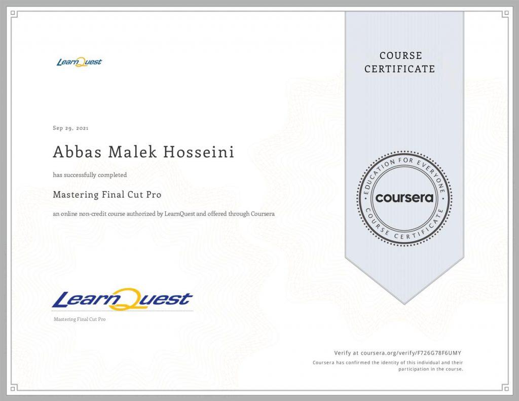 Coursera Certificate of Abbas Malek Hosseini Final Cut Pro